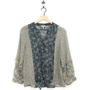 Joie Edaline Tie Front Button Down Silk Blouse XS